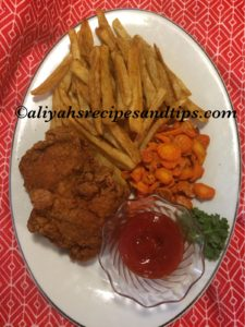 french fries, roasted carrot, fried chicken and ketchup