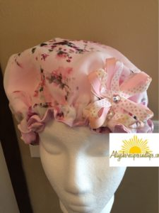 satin cap with ribbon