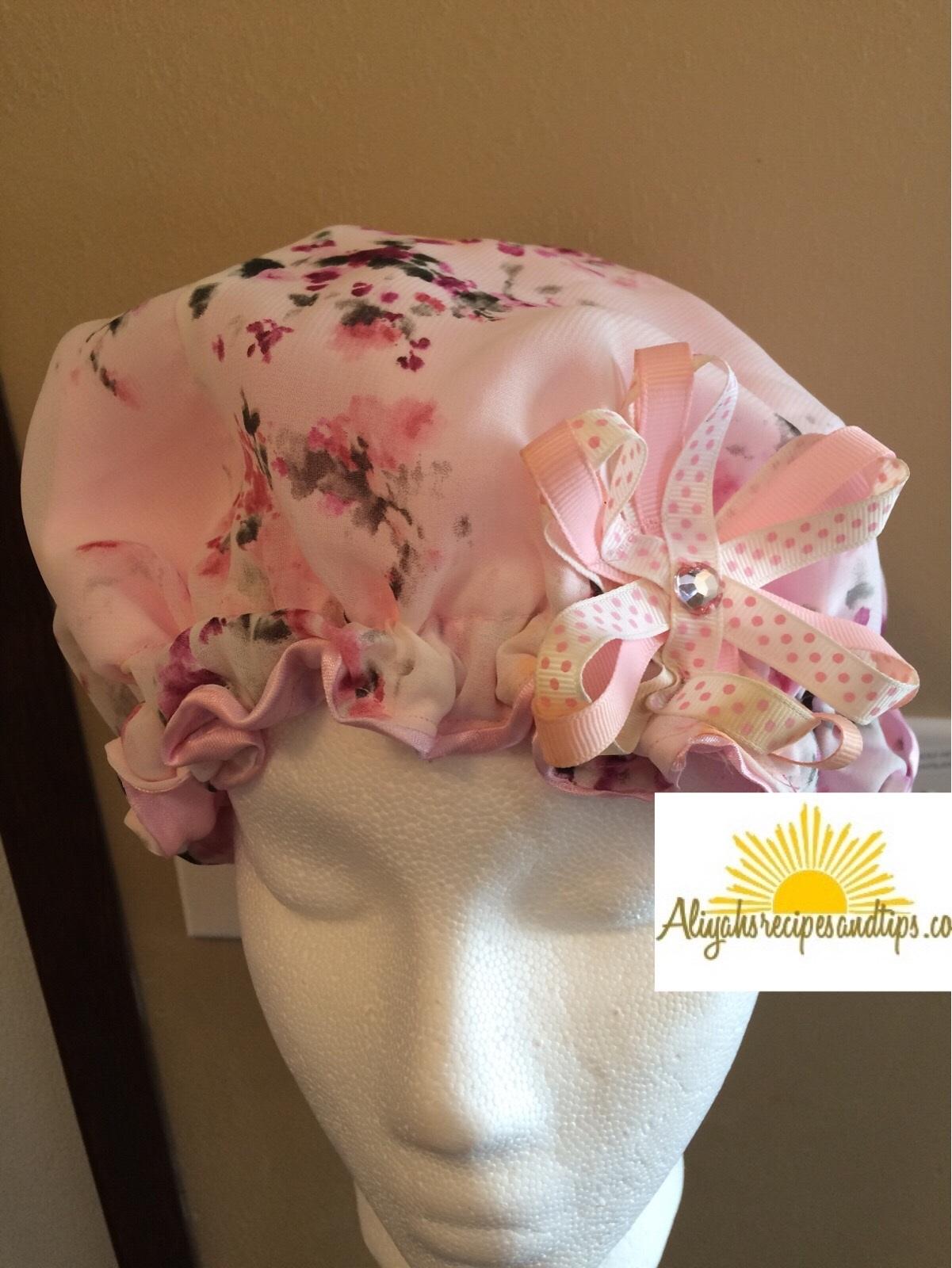 satin cap with ribbon