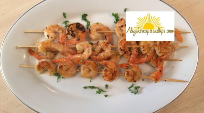 served skewed shrimps