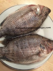 cleaned and slashed tilapia