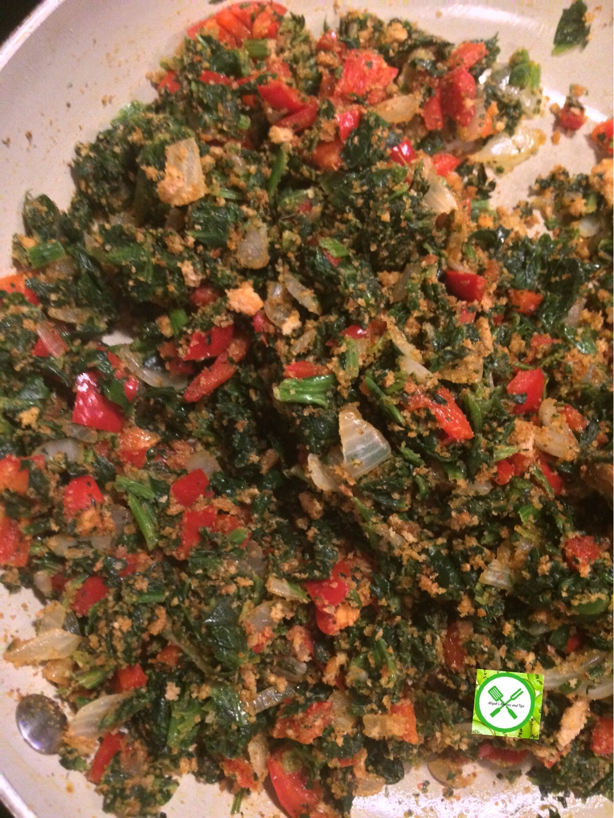 add spinach and crumbs