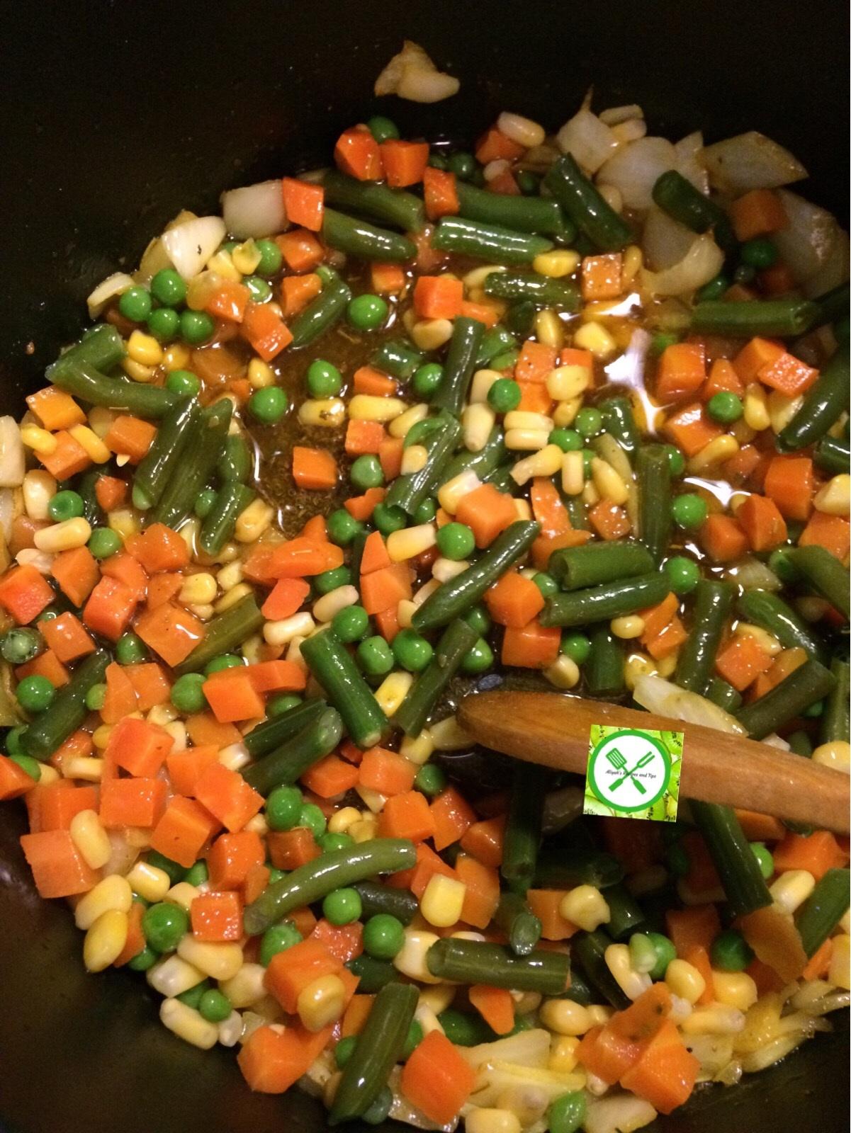 add veggies to the seasoning