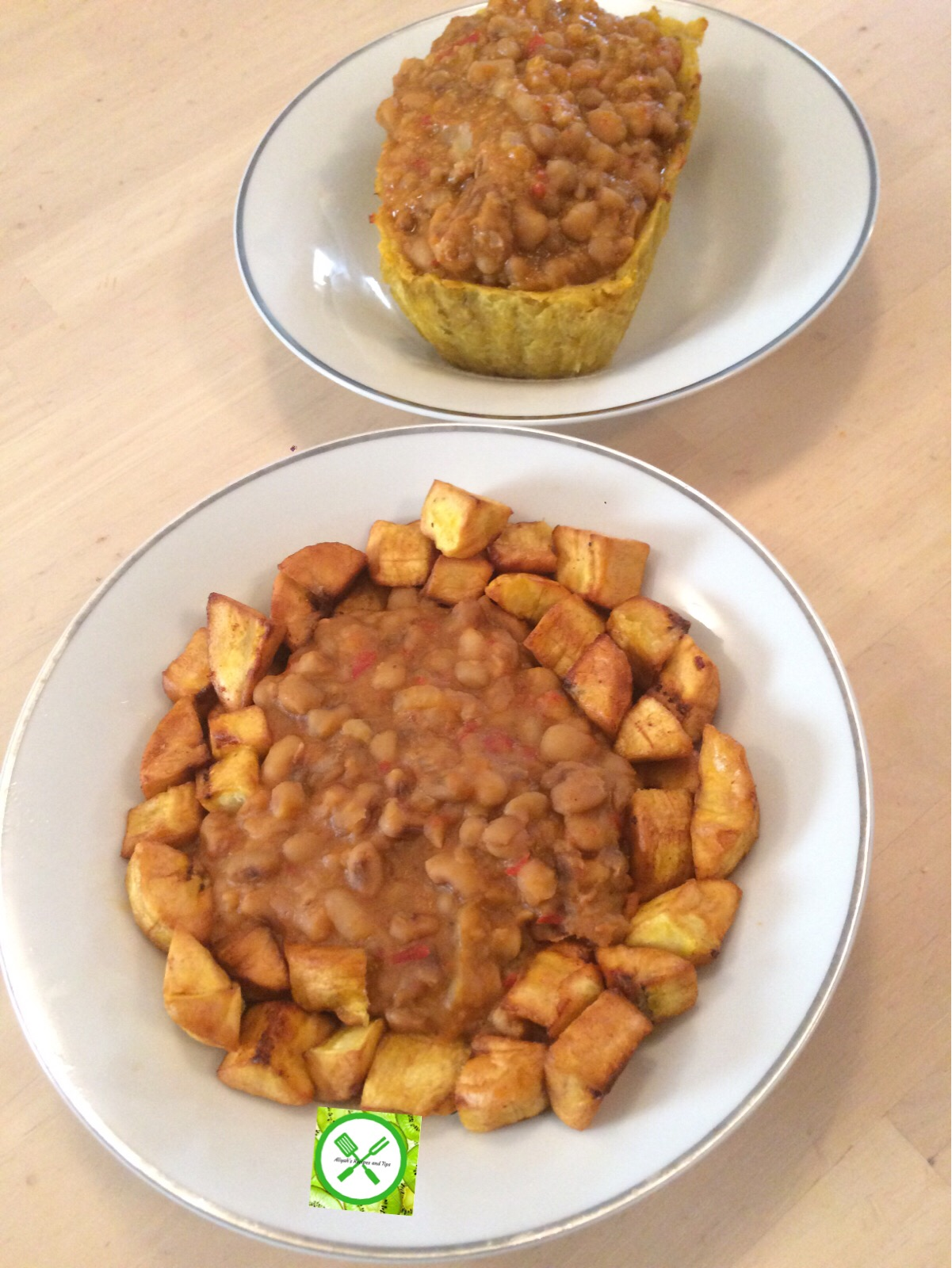 beans and plantain served