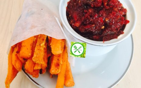 habanero jam with baked sweet potato