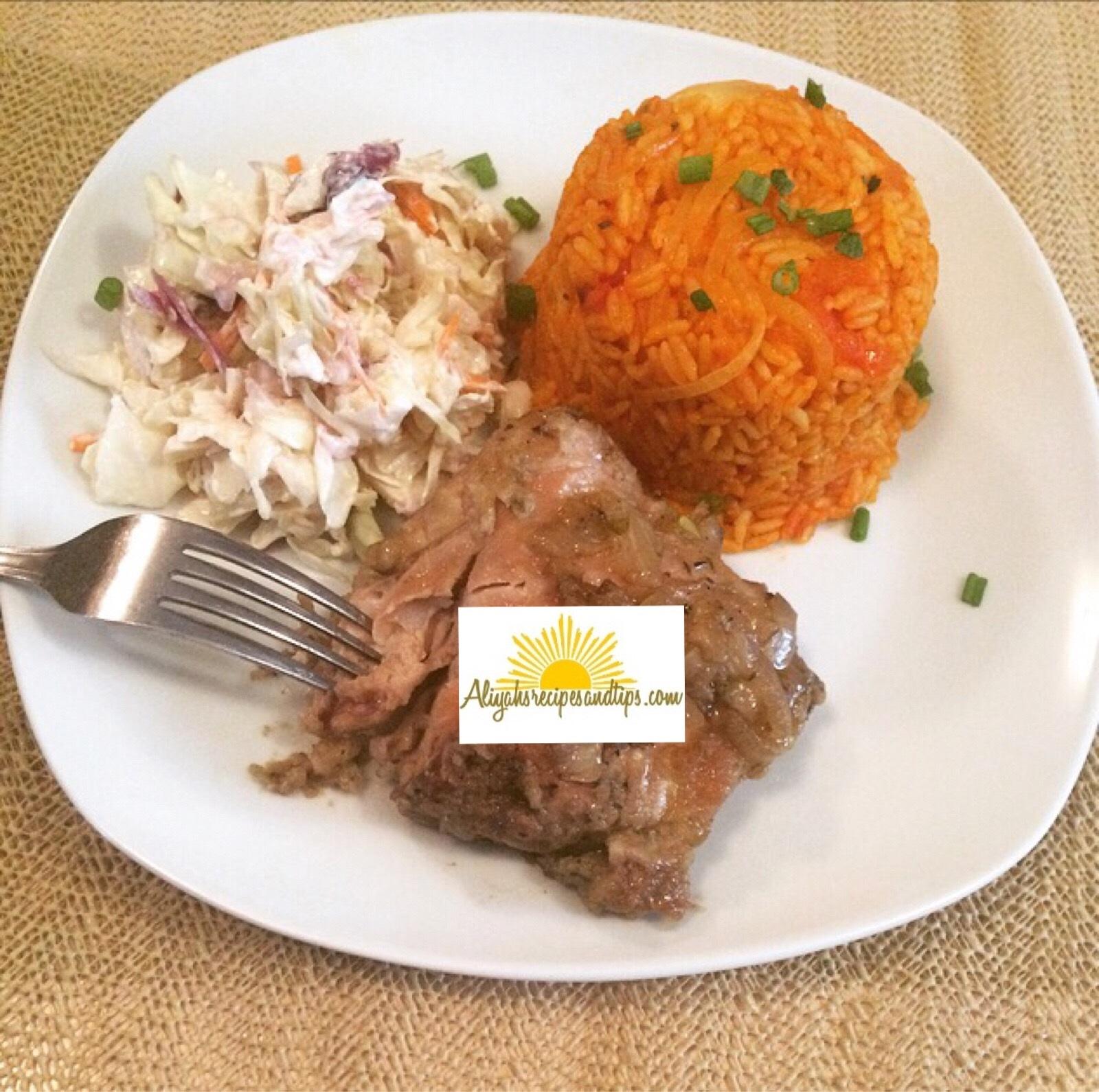 served coconut jollof rice
