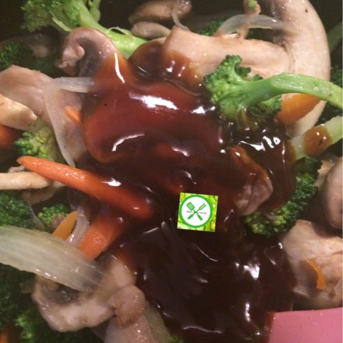 veg with teriyaki add teriyaki and broccoli