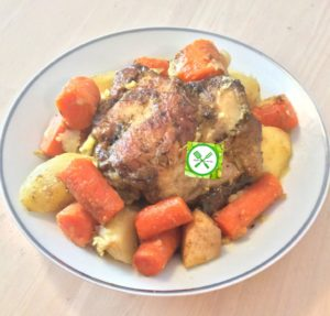 Braised chicken with veggies served