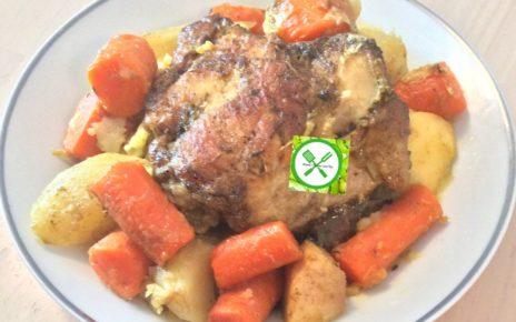Braised chicken with veggies served