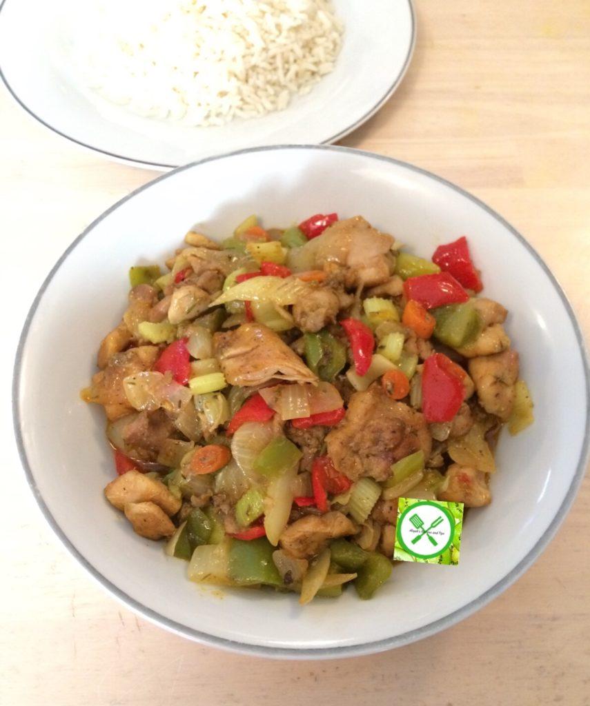 Chicken Vegetable Sauce served