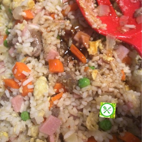Chinese Fried Rice mix the rice