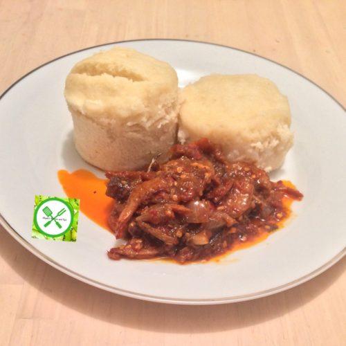 Ekuru and Stew (White moi moi and fried stew), ekuru, how to make ekuru, ofuloju, how to make ekuru, how to make ofuloju