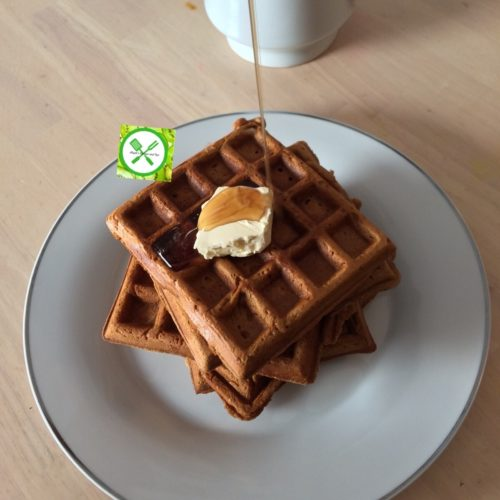 Gingerbread waffle served