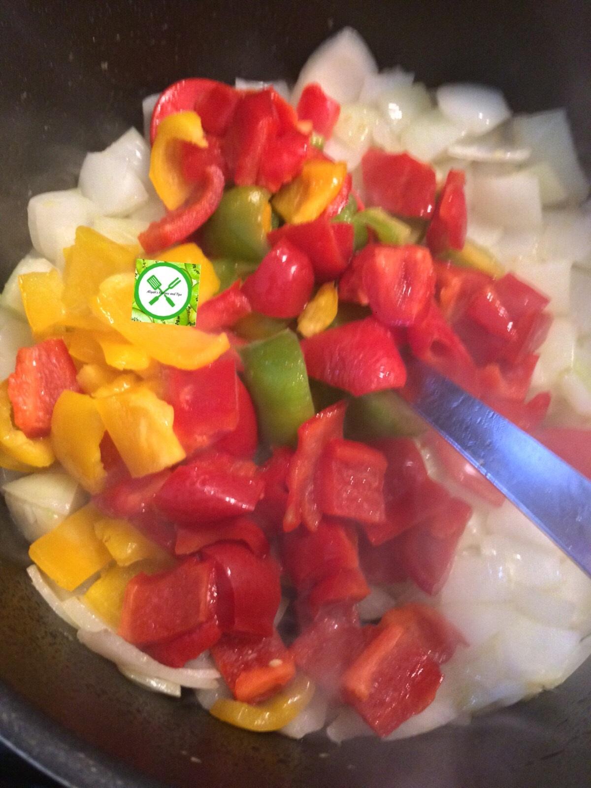Goat n mushrooms add peppers