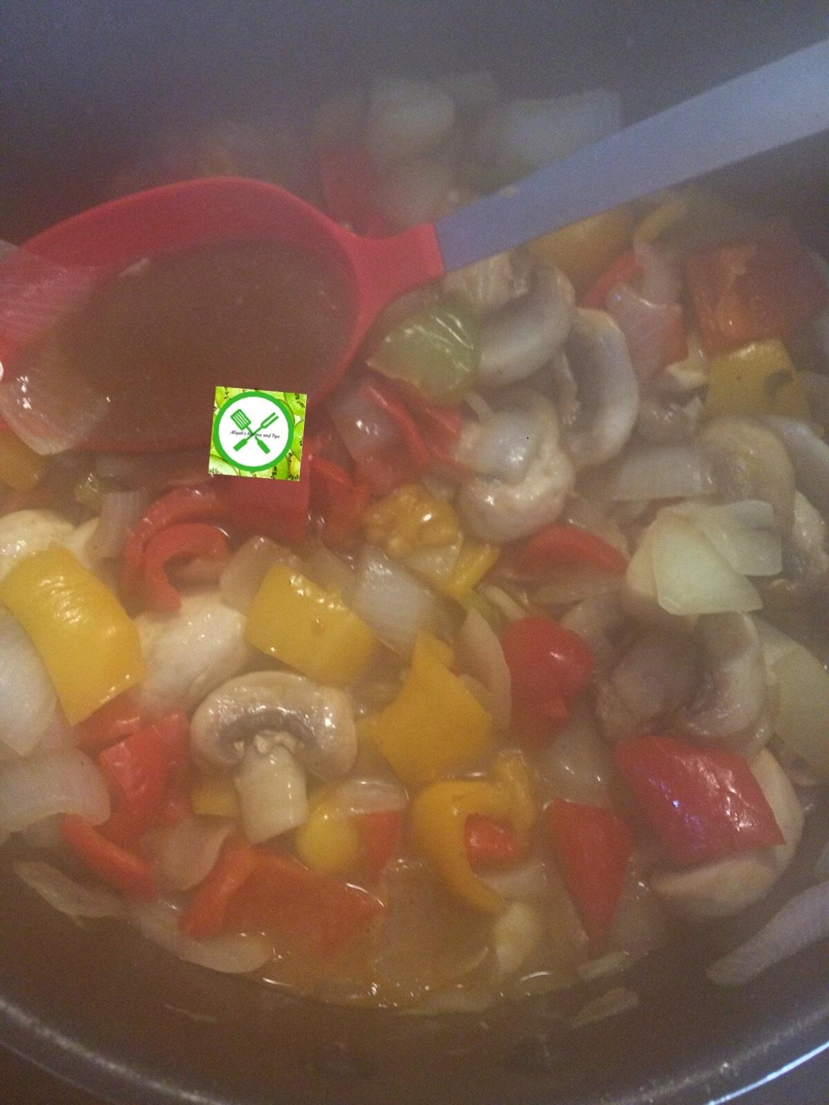 Goat n mushrooms add sauce