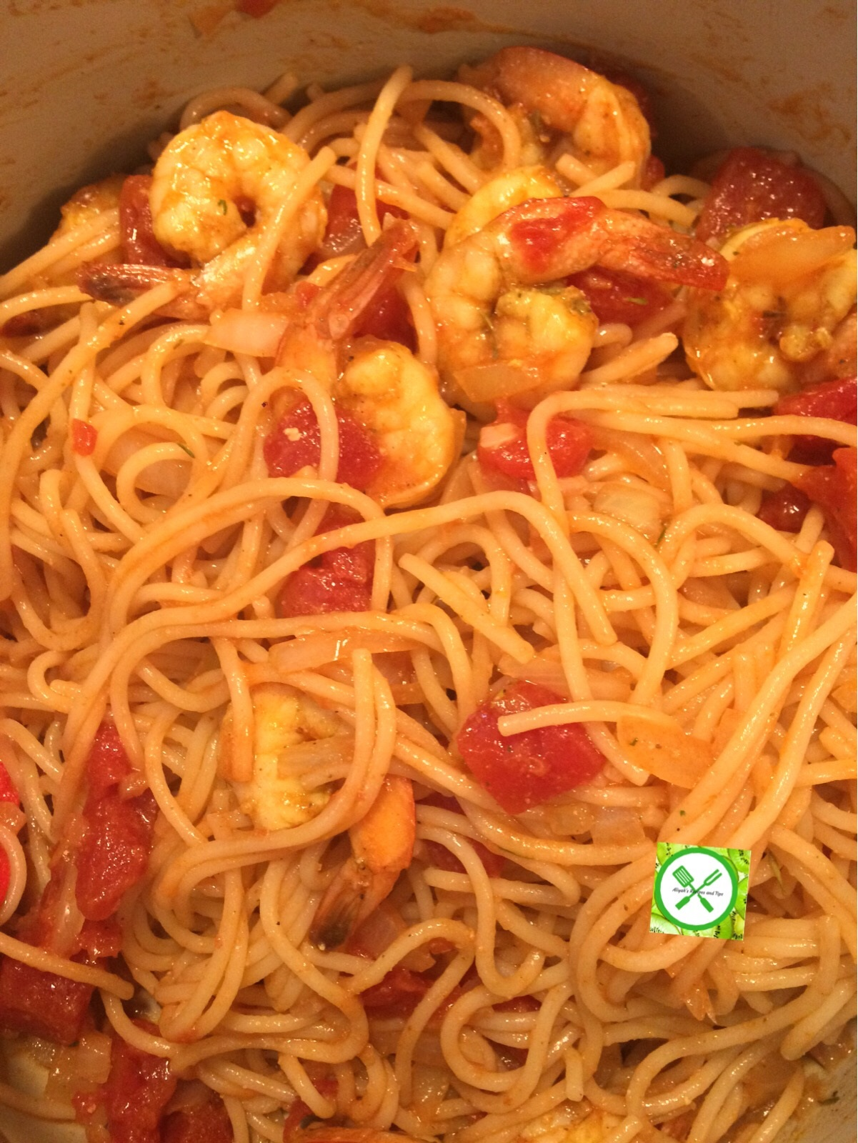 Shrimps scampi cooked pasta