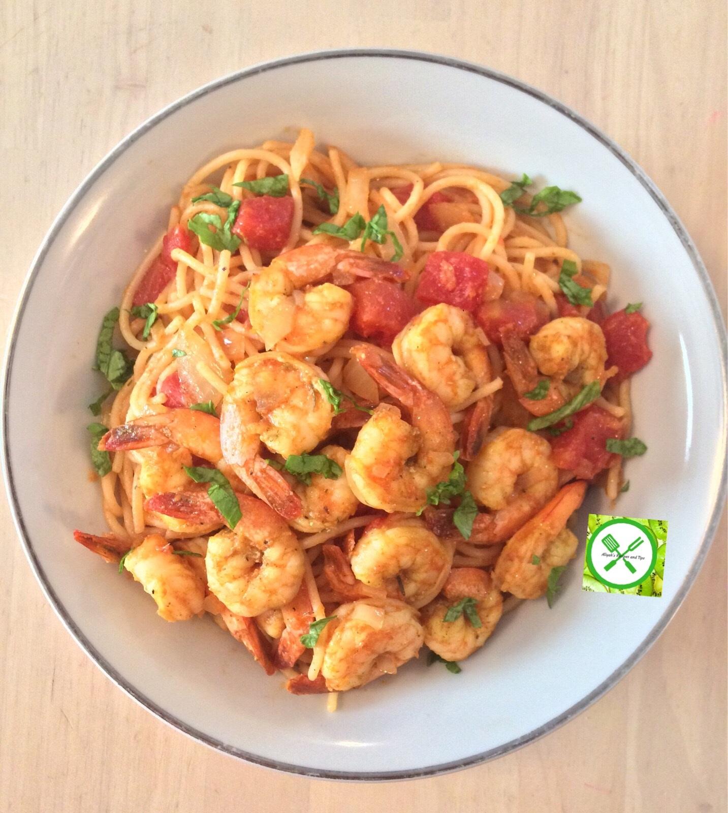 Shrimps scampi served