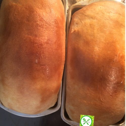 White sandwich bread out of oven