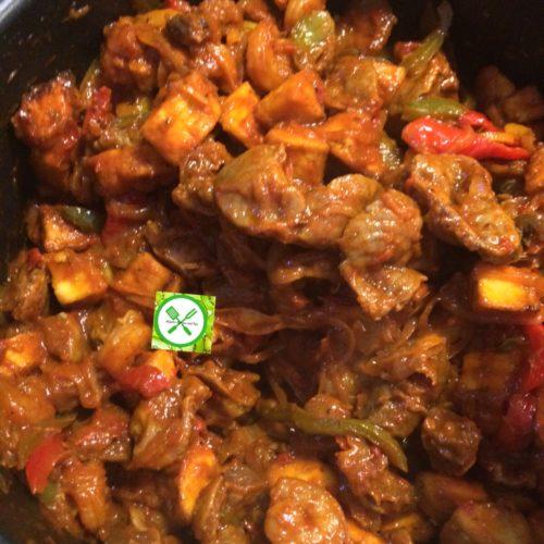 stewed gizzard, peppered gizzard, gizdodo recipe, fried plantain, dodo gizzard, chicken gizzard, Nigerian gizzard recipe, gizdodo with shrimp