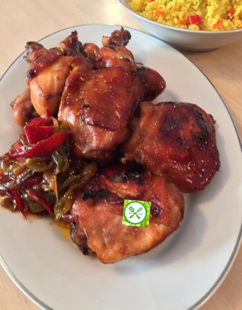 Baked swt n sour chicken served
