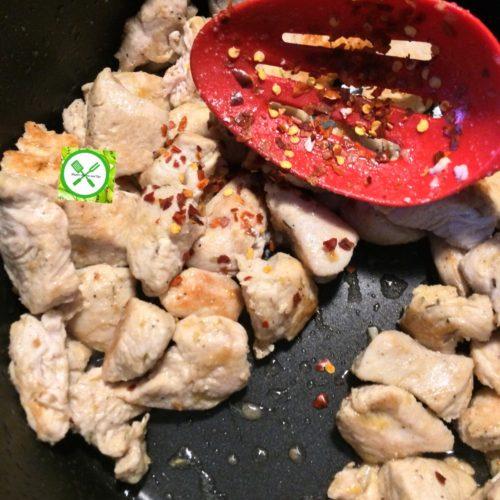 Chicken stir fry w bro n green beans add p. flake