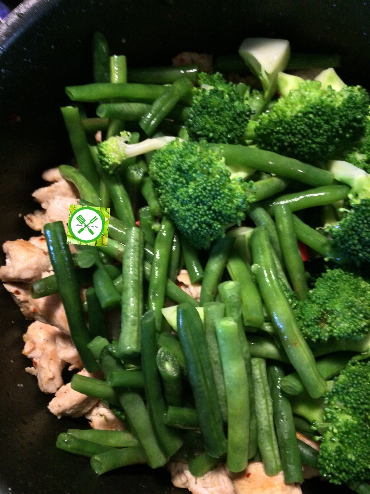 Chicken stir fry w bro n green beans add veggies
