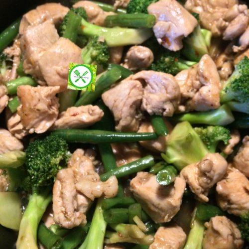 Chicken stir fry w bro n green beans mix