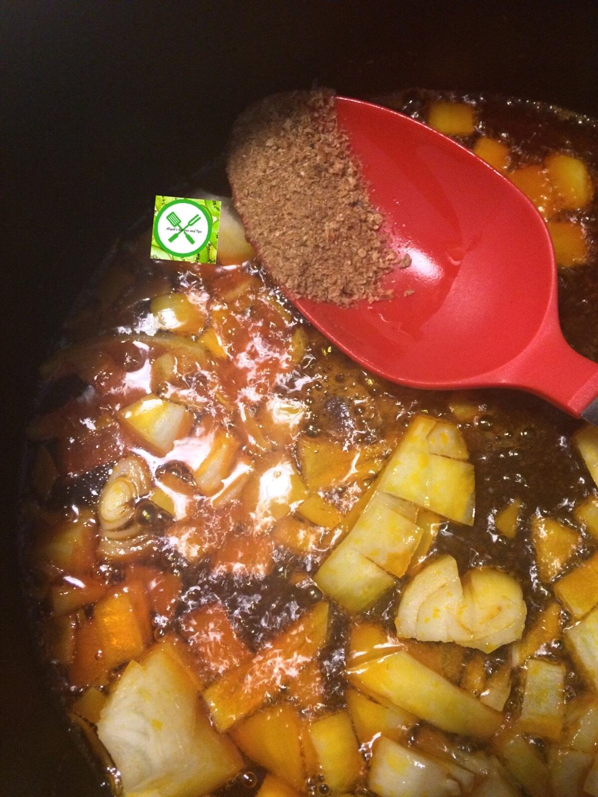 Fried p. oil stew add crayfish