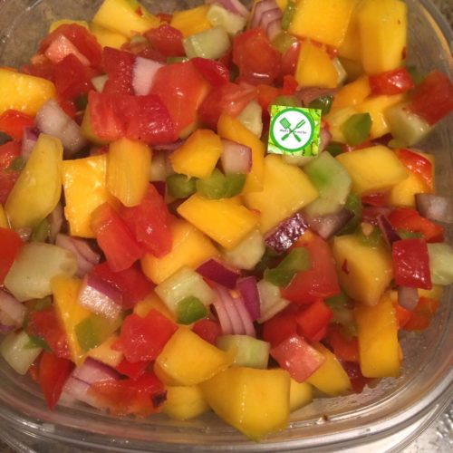 Mango salsa in a bowl