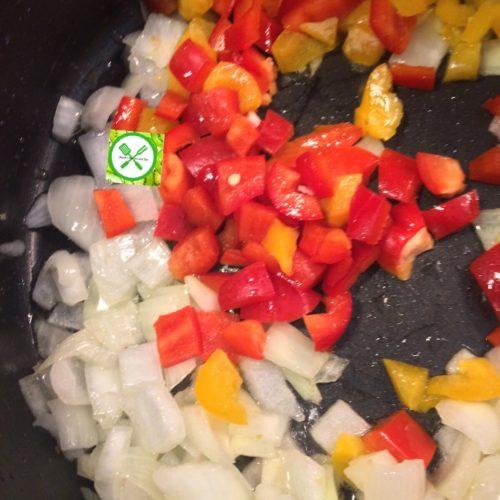 Mushroom pasta add bell peppers