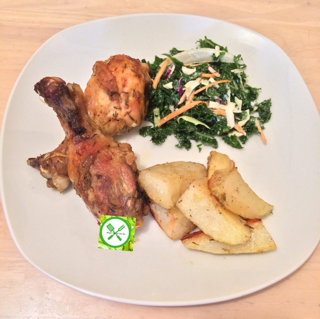 One pan roast potatoes and chicken served