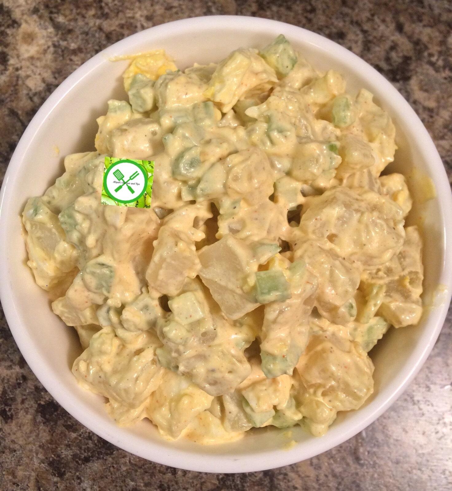 Potato salad served