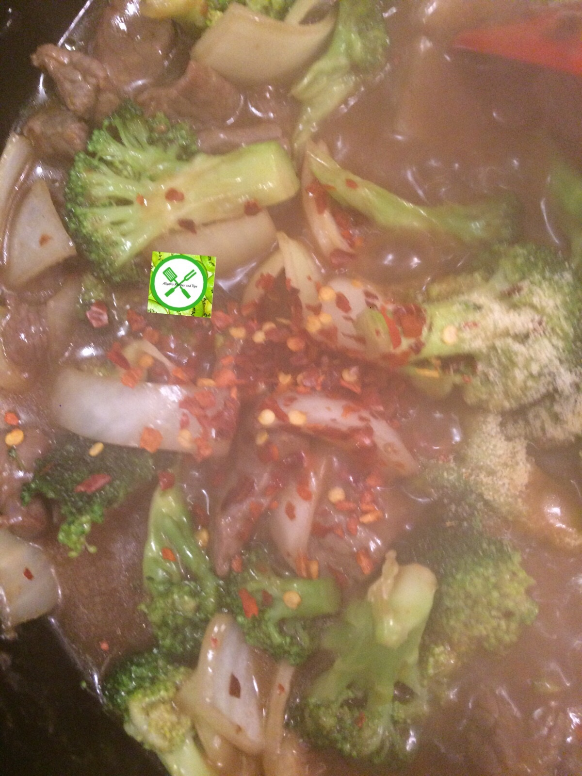 Easy beef and broccoli add pepper flakes