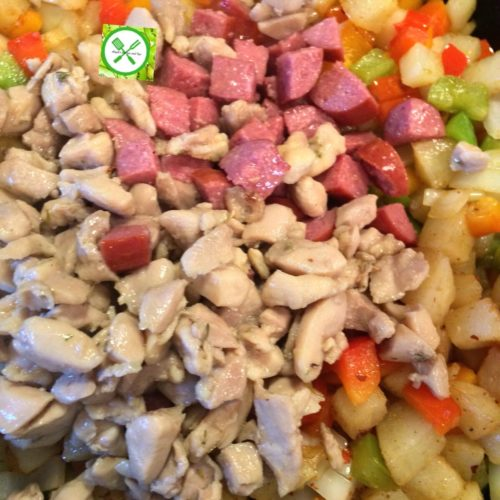 Golden skillet potatoes add chicken