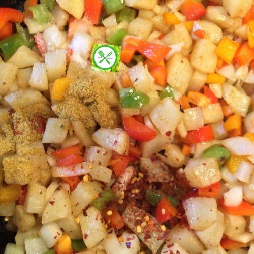 Golden skillet potatoes add seasonings