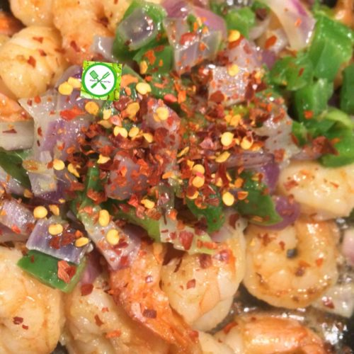 Sweet and spicy mango shrimp add red pepper