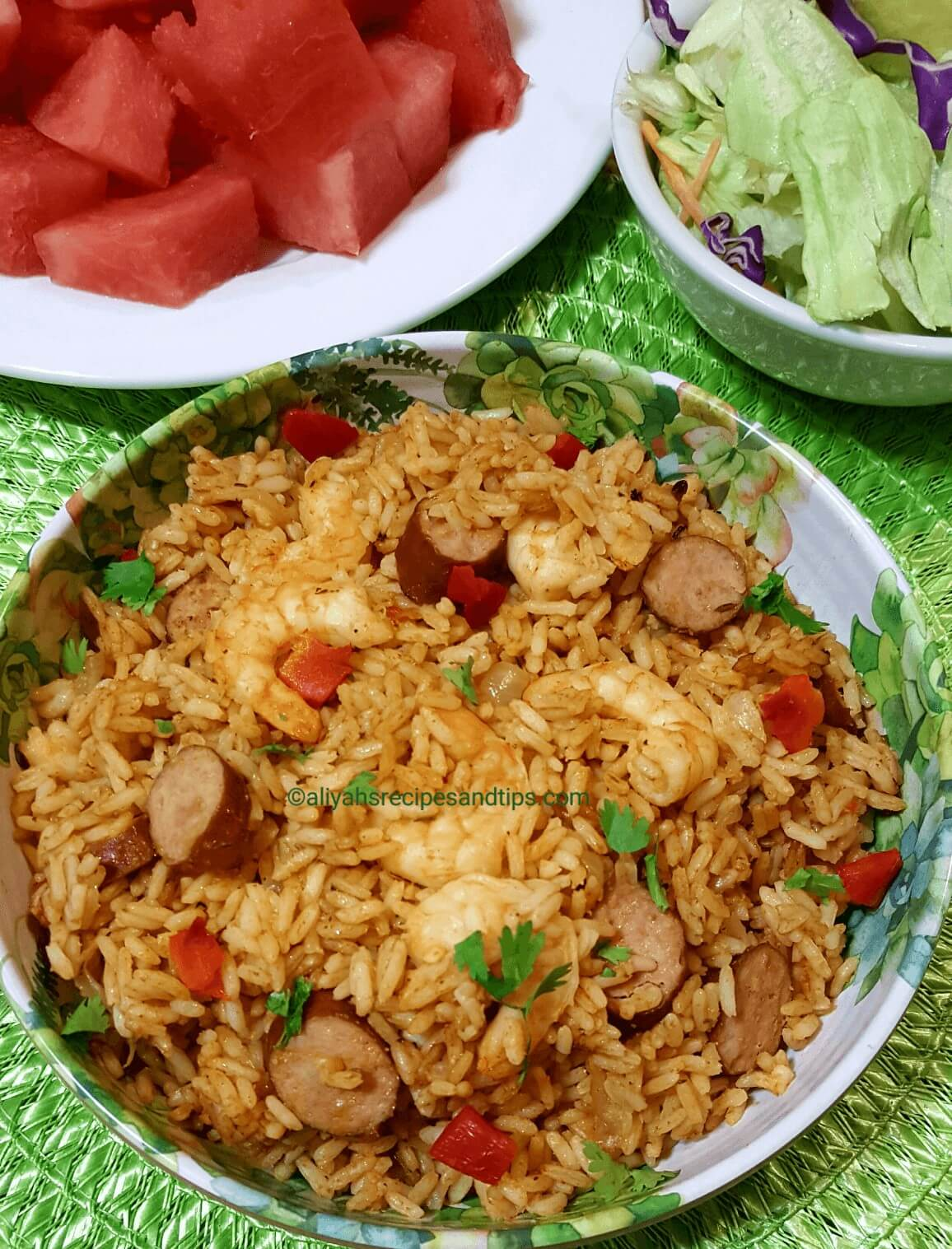 Sausage and Shrimps Jambalaya, jambalaya, dutch oven, Louisiana style, dirty rice, Cajun, Authentic, New Orleans style easy, seafood, recipe, louisiana,