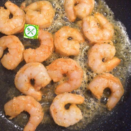 shrimp tacos cooking