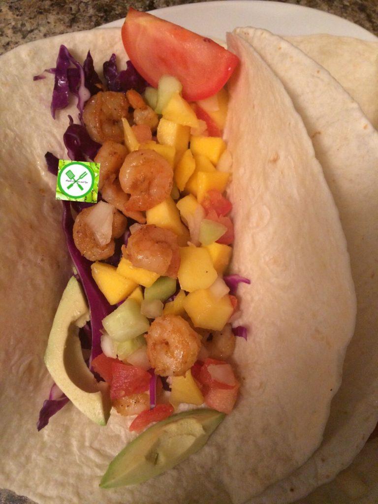 shrimp tacos served