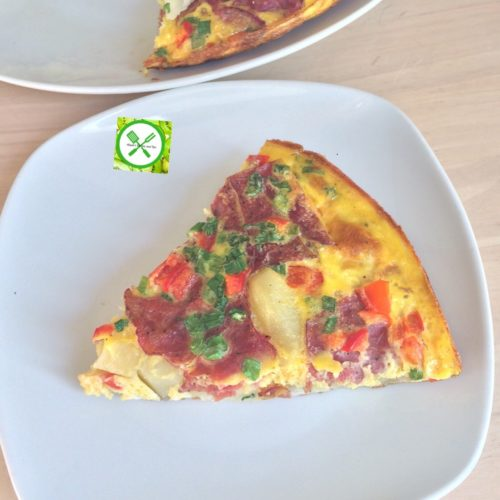 Potatoes and beef omelette add green onions