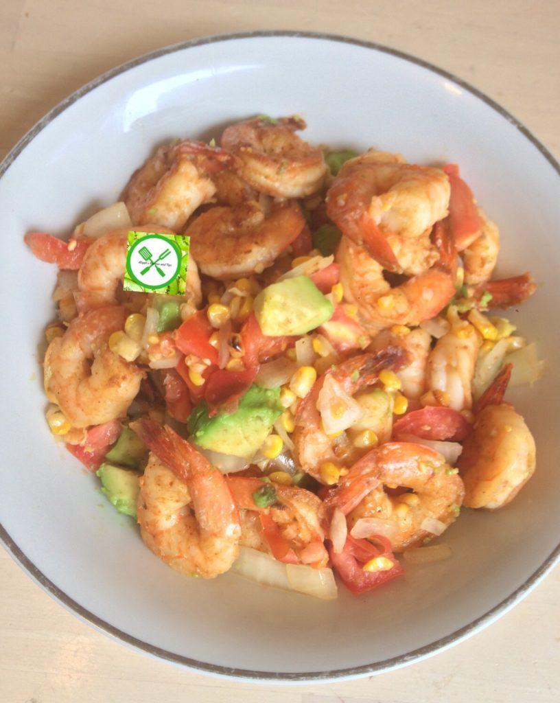 Shrimps, roasted corn, avocados salad
