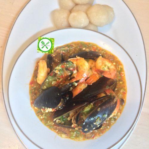 Stewed seafood okra