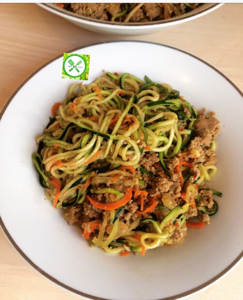 Teriyaki Ground Turkey Zucchini Noodles