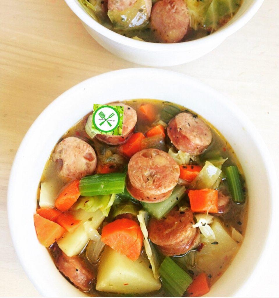 sausage potato and cabbage soup