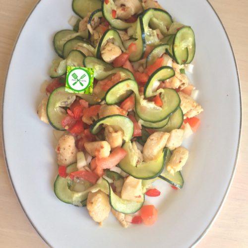Curly cucumber salad