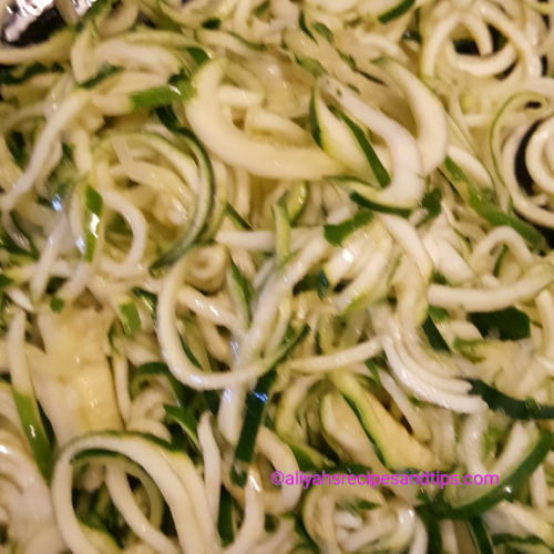 Zoodles with tomato basil shrimps