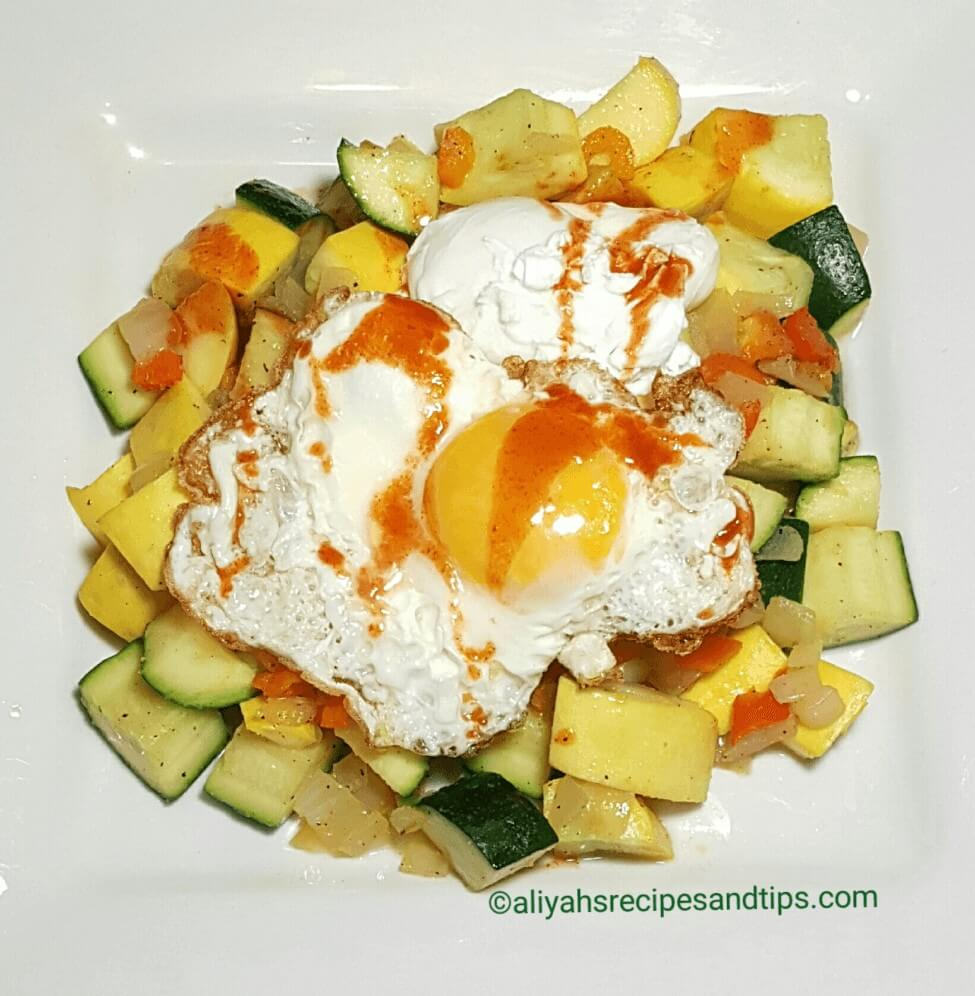 Breakfast Vegetable with sunny side egg, Vegetables with eggs, breakfast vegetables with egg