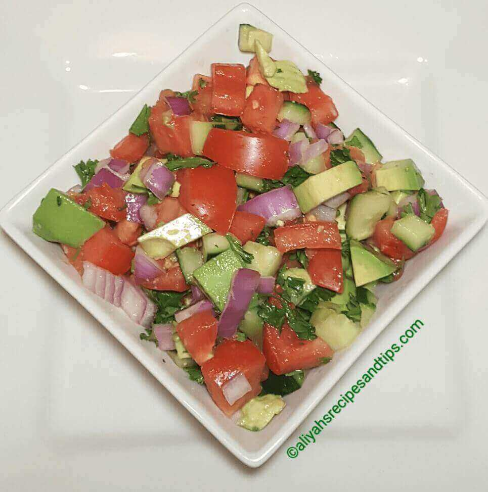 Tomato cucumber salad, how to make tomato cucumber salad, Tomato cucumber, and avocados salad