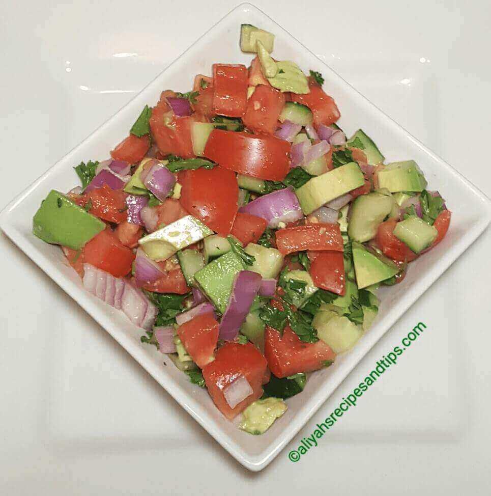 Tomato cucumber salad, how to make tomato cucumber salad, Tomato cucumber, and avocados salad