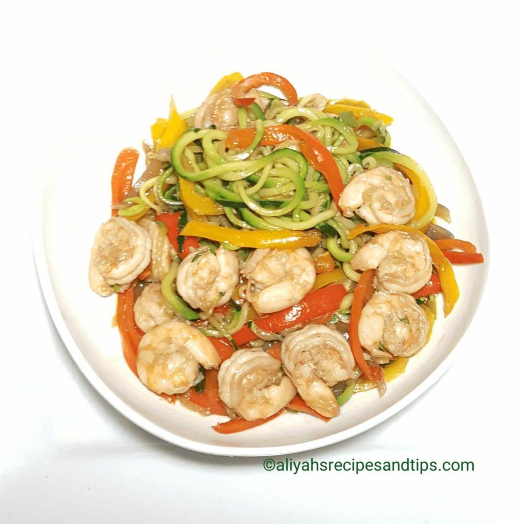 shrimp zoodle lo mein, stir fry, shrimp chow, lo mein zoodle, shrimp zoodle, noodle, inspiralized, spiralized